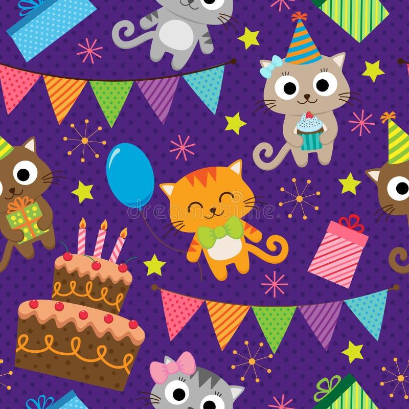 Σχέδιο γιορτής γενεθλίων με τις γάτες διανυσματική απεικόνιση