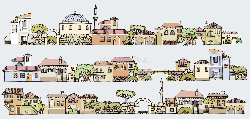 Σχέδιο γραμμών Στοιχεία εικονικής παράστασης πόλης καθορισμένα Συρμένο το χέρι απομονωμένο s διανυσματική απεικόνιση