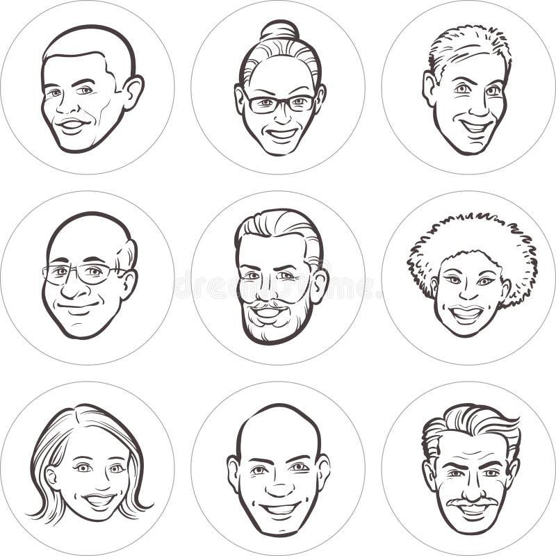 Σχέδιο γραμμών των διαφορετικών προσώπων ανθρώπων διανυσματική απεικόνιση