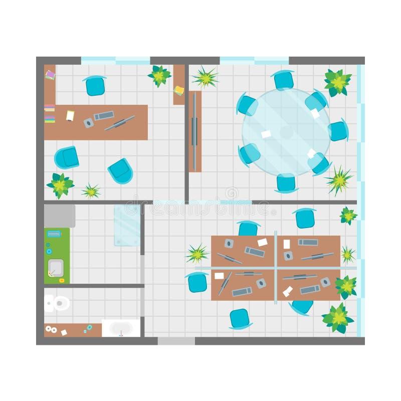 Σχέδιο γραφείων αρχιτεκτονικής με τη τοπ άποψη επίπλων διάνυσμα διανυσματική απεικόνιση