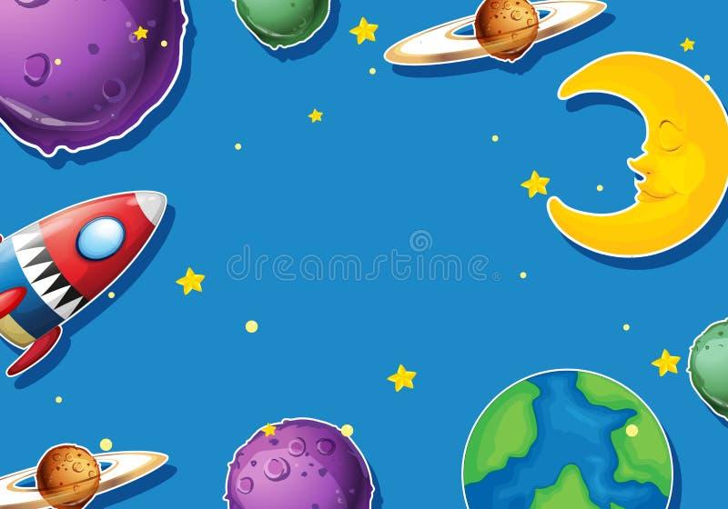 Σχέδιο εγγράφου με τους πλανήτες και τον πύραυλο διανυσματική απεικόνιση