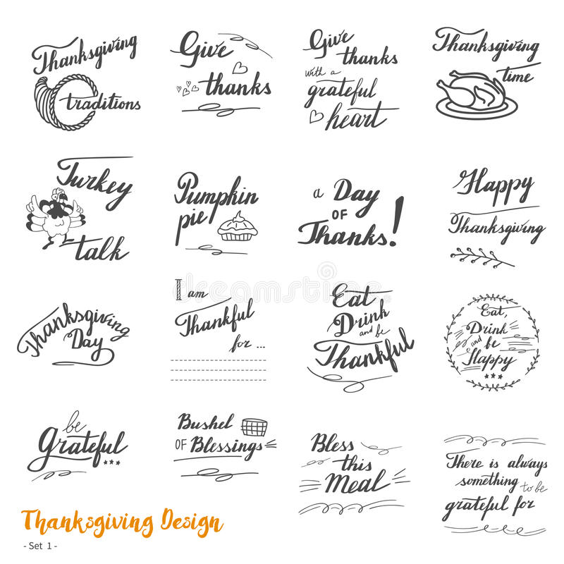 Σχέδιο εγγραφής και καλλιγραφίας χεριών ημέρας των ευχαριστιών ελεύθερη απεικόνιση δικαιώματος