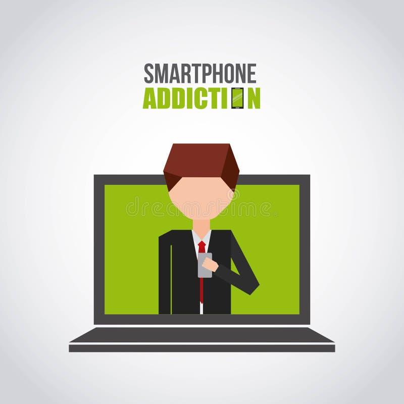 Σχέδιο εθισμού Smartphone ελεύθερη απεικόνιση δικαιώματος