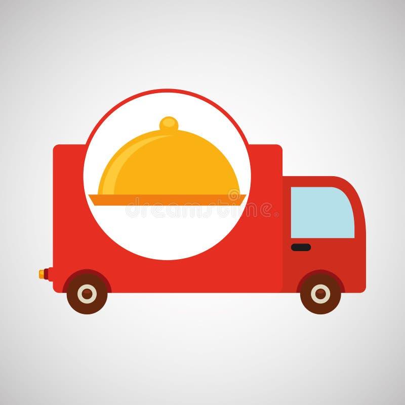 Σχέδιο εικονιδίων τροφίμων φορτηγών παράδοσης απεικόνιση αποθεμάτων