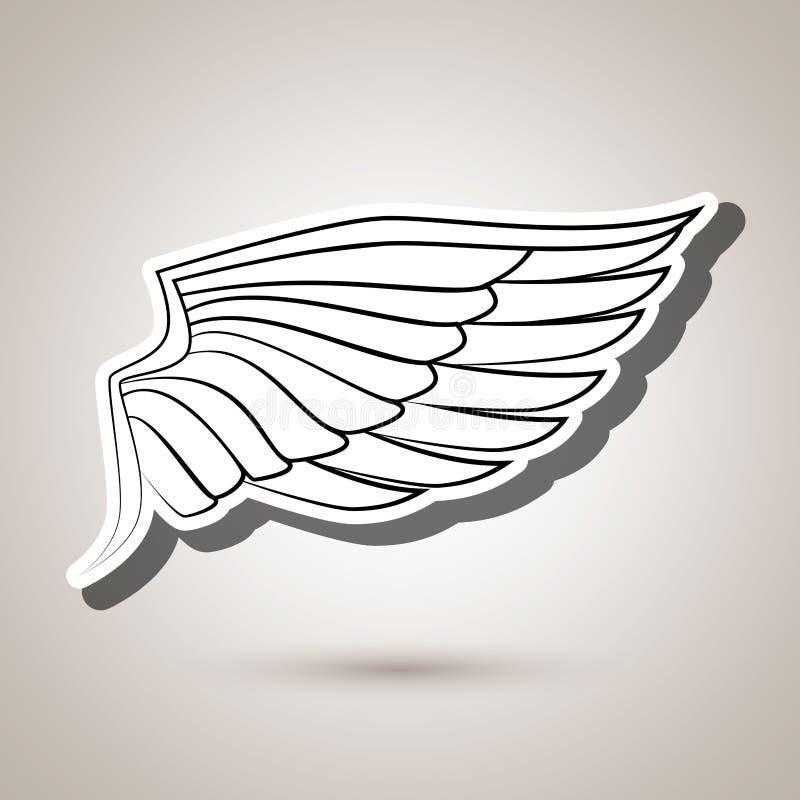 σχέδιο εικονιδίων φτερών διανυσματική απεικόνιση