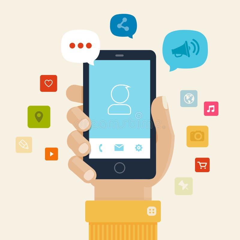 Σχέδιο εικονιδίων Smartphone apps οριζόντια ελεύθερη απεικόνιση δικαιώματος