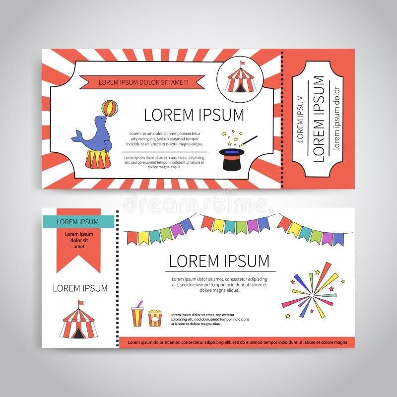 Σχέδιο εισιτηρίων τσίρκων διανυσματική απεικόνιση