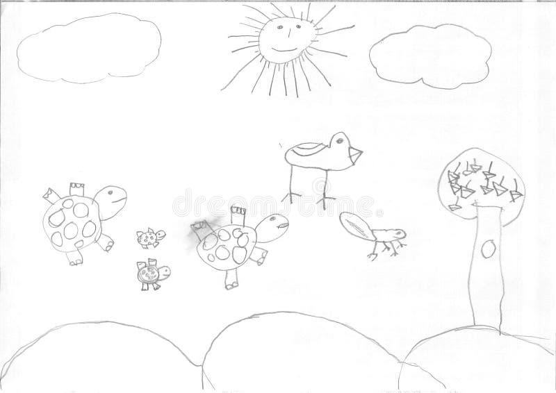 Σχέδιο ενός κοριτσιού προσφύγων στοκ εικόνες με δικαίωμα ελεύθερης χρήσης