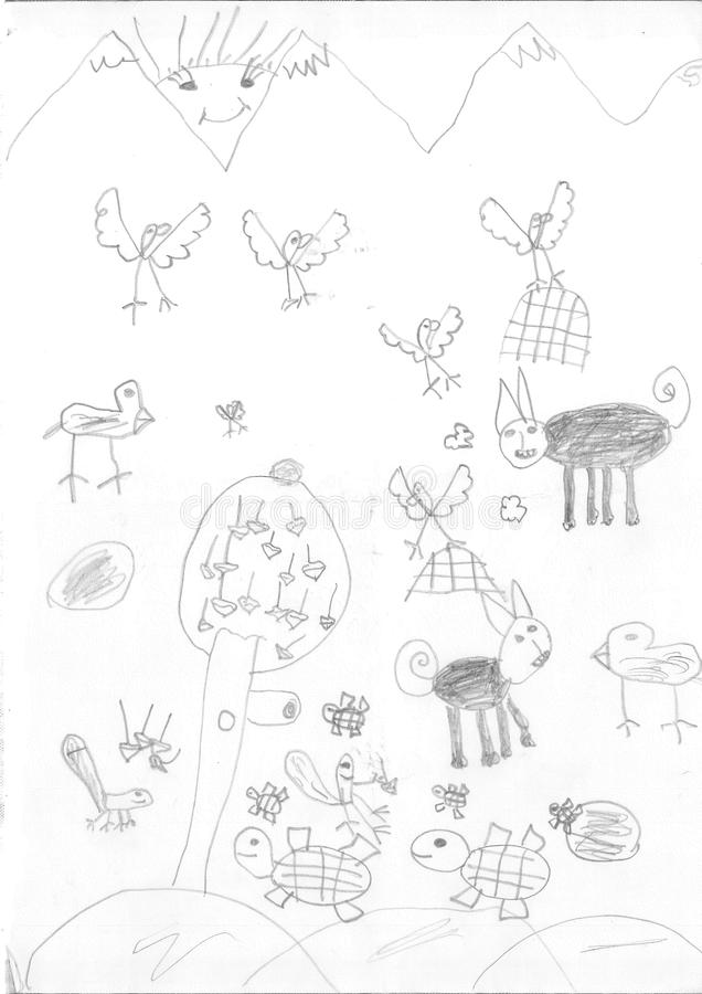 Σχέδιο ενός κοριτσιού προσφύγων στοκ εικόνα με δικαίωμα ελεύθερης χρήσης