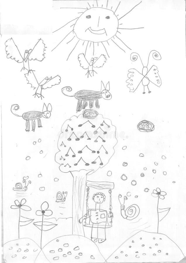 Σχέδιο ενός κοριτσιού προσφύγων στοκ εικόνες
