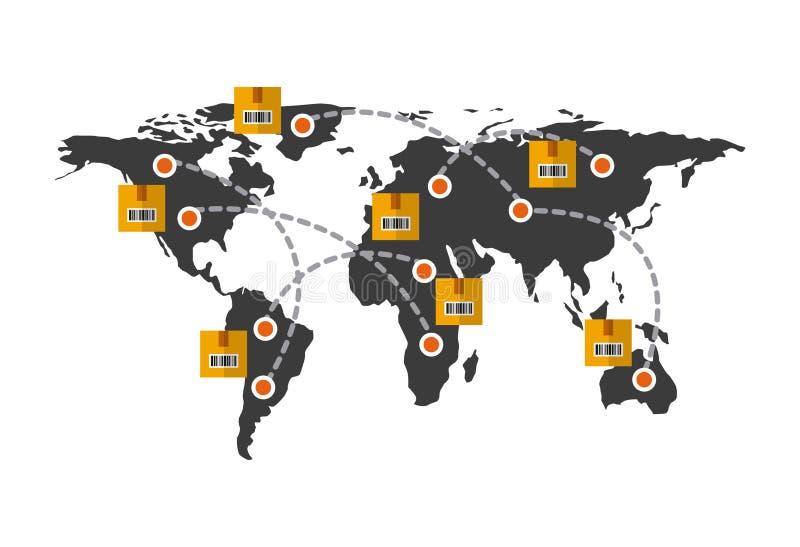 σχέδιο εξαγωγής και εισαγωγών διανυσματική απεικόνιση