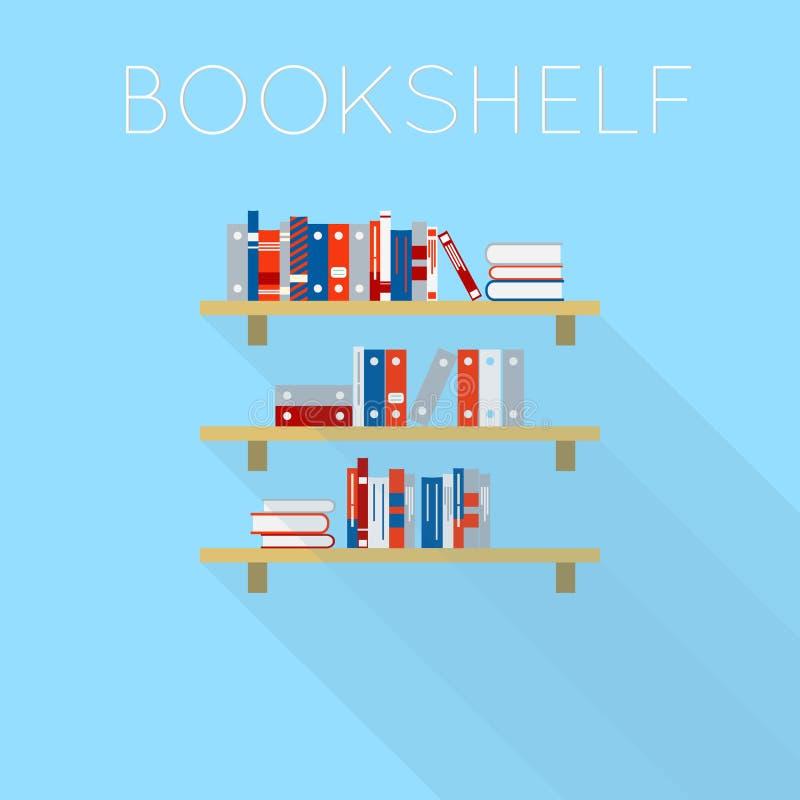 Σχέδιο επίπεδος-ύφους τριών bookshelfs με τα βιβλία ελεύθερη απεικόνιση δικαιώματος