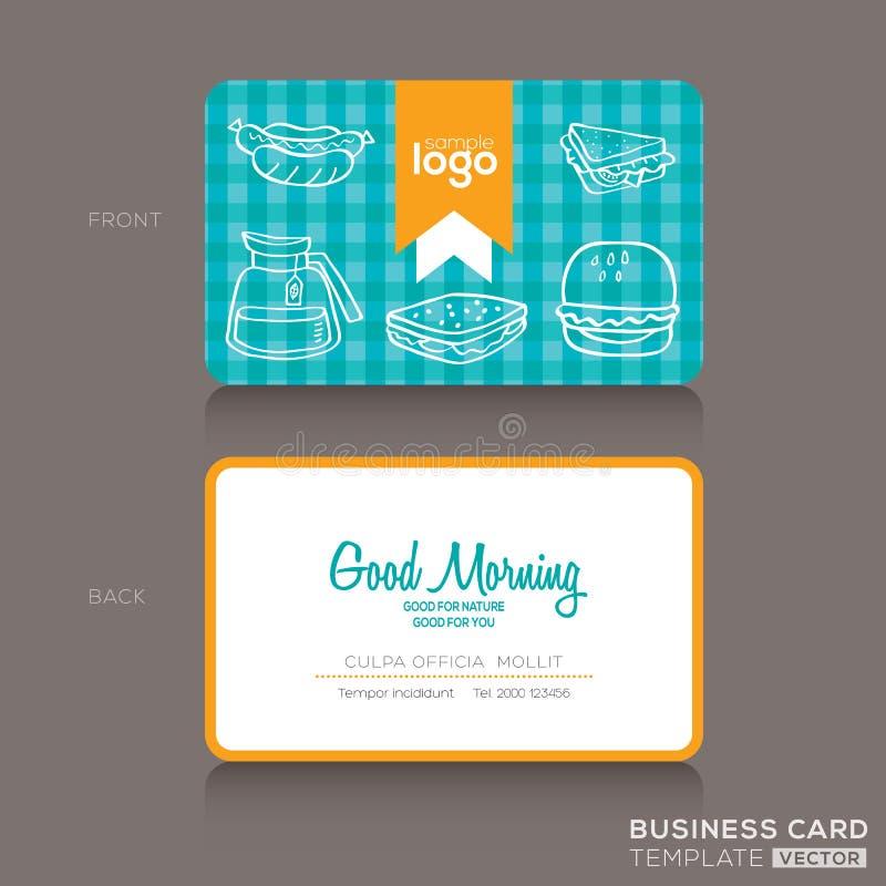 Σχέδιο επαγγελματικών καρτών για το κατάστημα ή τον καφέ αρτοποιείων ελεύθερη απεικόνιση δικαιώματος