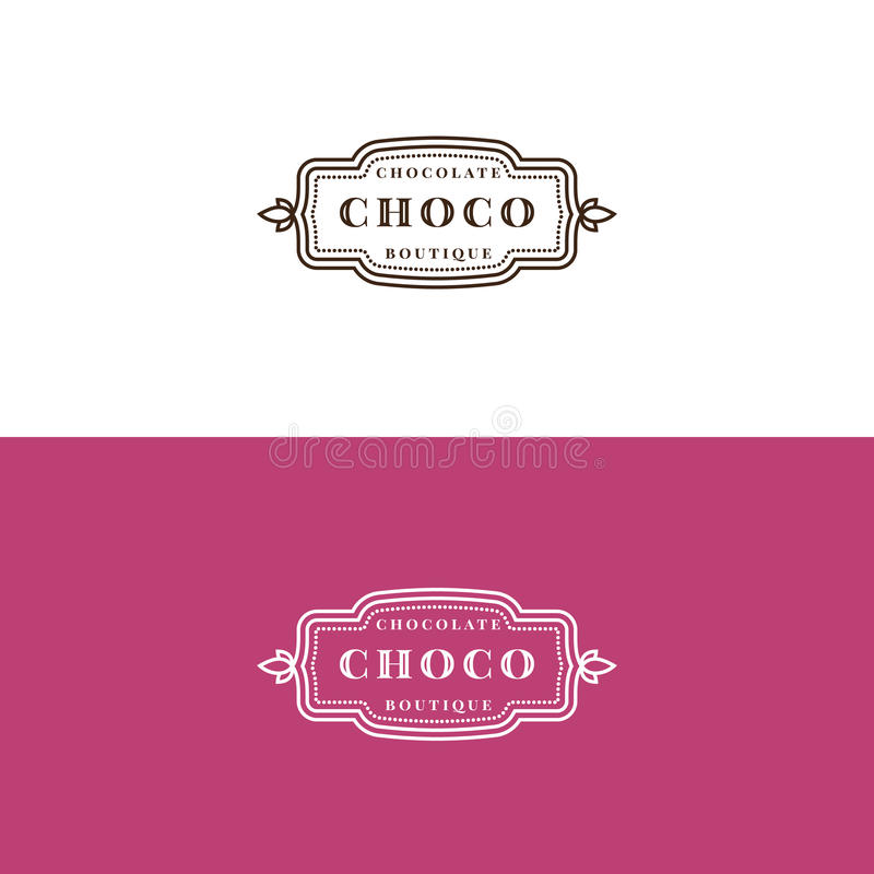 Σχέδιο ετικετών καταστημάτων σοκολάτας Minimalistic διανυσματική απεικόνιση