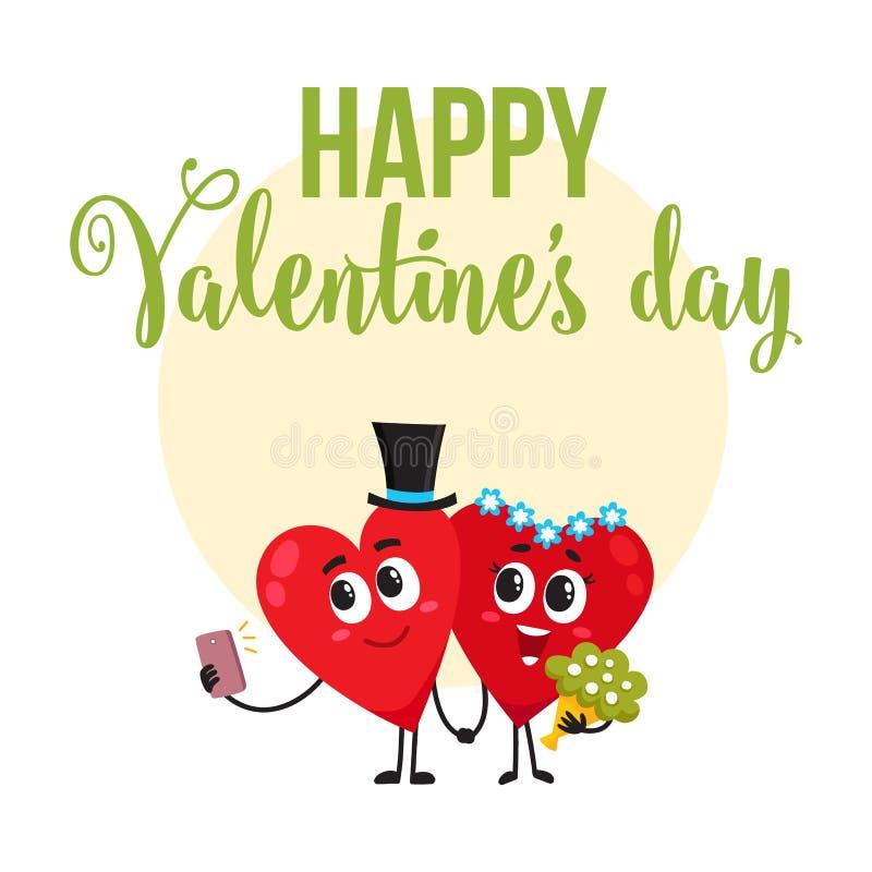 Σχέδιο ευχετήριων καρτών ημέρας βαλεντίνων με τους χαρακτήρες καρδιών που έχουν το γάμο διανυσματική απεικόνιση