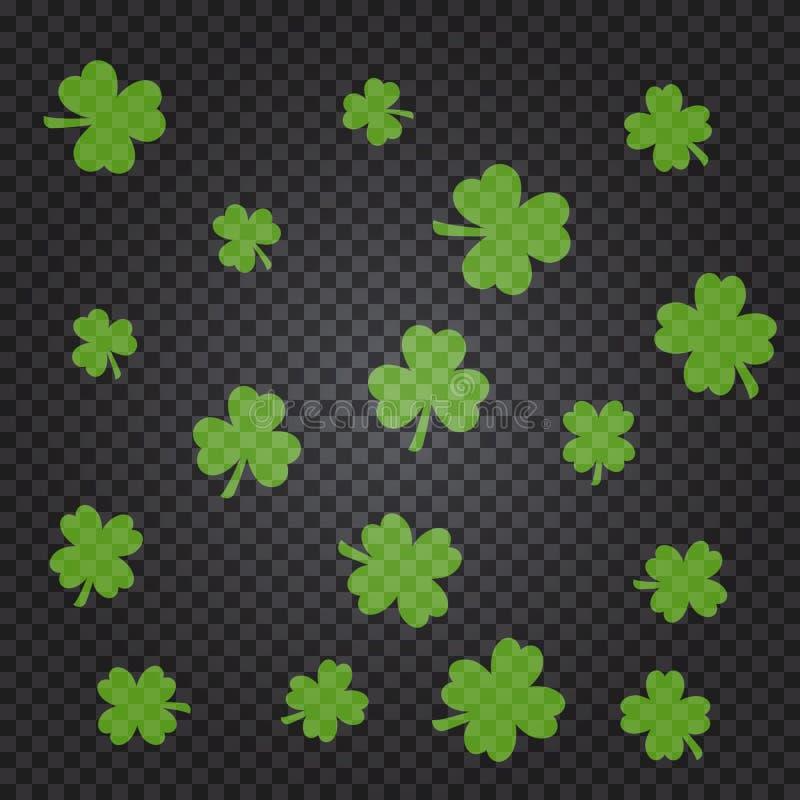 Σχέδιο ημέρας Αγίου Πάτρικ s με τα πράσινα φύλλα τριφυλλιού ελεύθερη απεικόνιση δικαιώματος