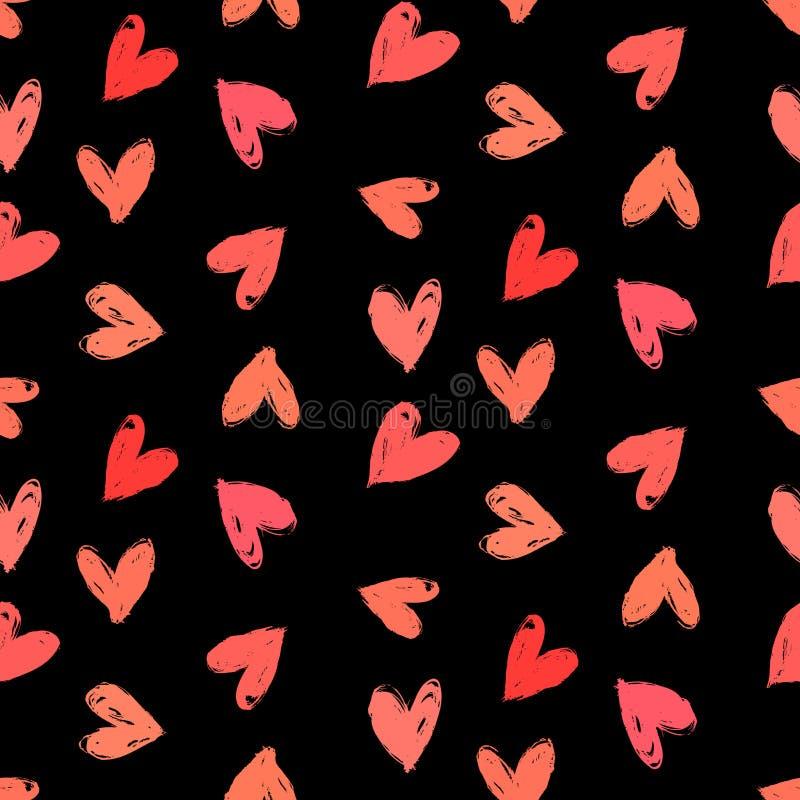 Σχέδιο ημέρας Velentine με χρωματισμένες τις χέρι καρδιές. ελεύθερη απεικόνιση δικαιώματος