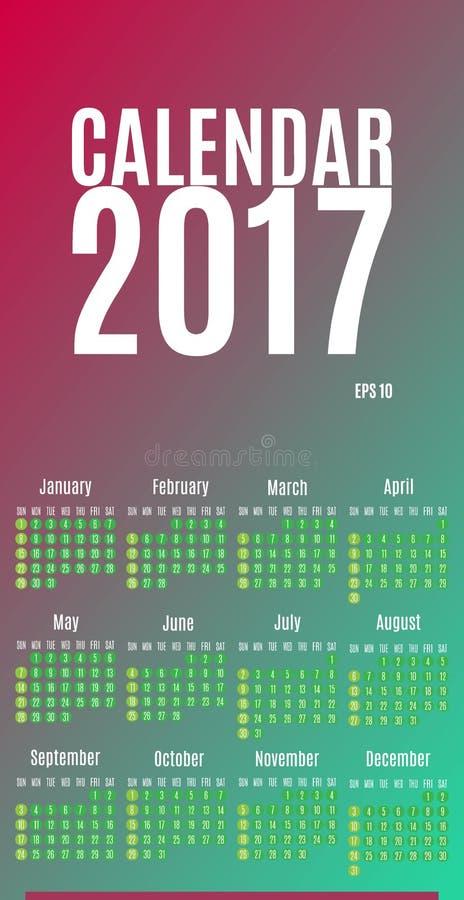 2017 σχέδιο ημερολογιακών αρμόδιων για το σχεδιασμό Μηνιαίο ημερολόγιο τοίχων για το έτος διανυσματική απεικόνιση