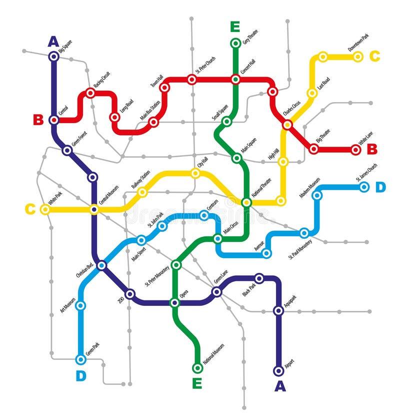 Σχέδιο δημόσιων συγκοινωνιών πόλεων διανυσματική απεικόνιση