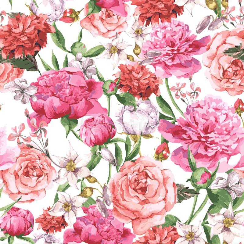 Σχέδιο θερινού άνευ ραφής Watercolor με ρόδινο Peonies και τριαντάφυλλα σε ένα άσπρο υπόβαθρο διανυσματική απεικόνιση
