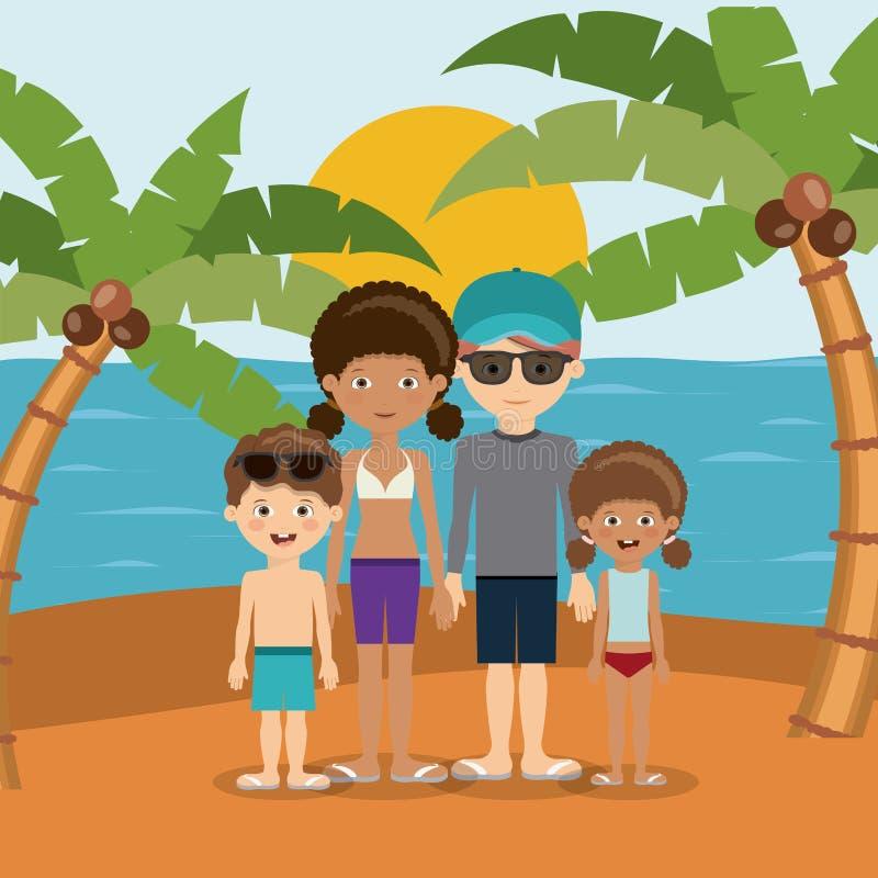 Σχέδιο διακοπών οικογενειακών παραλιών διανυσματική απεικόνιση