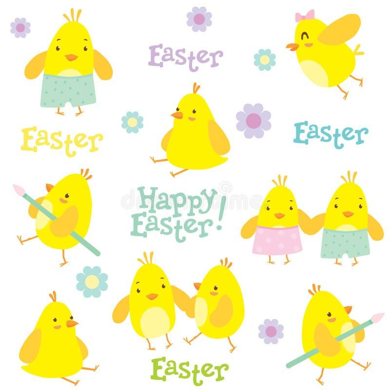 Σχέδιο διακοπών Πάσχας με τα μικρές κοτόπουλα και τις διακοσμήσεις στοκ εικόνα