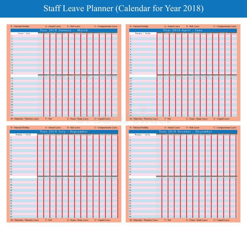 Σχέδιο 2018 διακοπών προσωπικού απεικόνιση αποθεμάτων