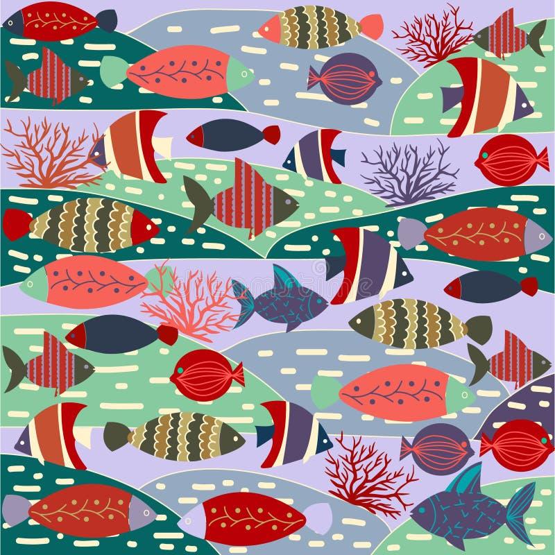 Σχέδιο διακοσμητικό με τα ζωηρόχρωμα χαριτωμένα ψάρια ελεύθερη απεικόνιση δικαιώματος