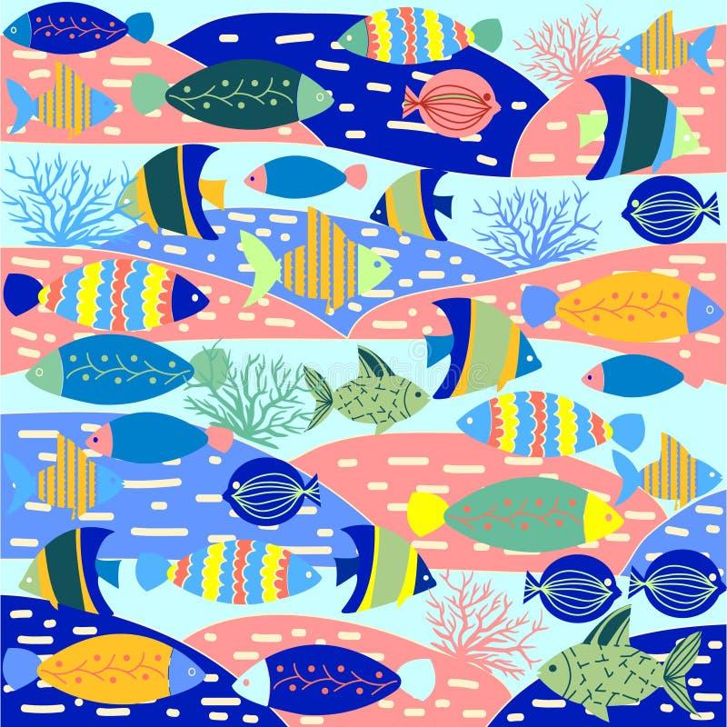 Σχέδιο διακοσμητικό με τα ζωηρόχρωμα χαριτωμένα ψάρια διανυσματική απεικόνιση
