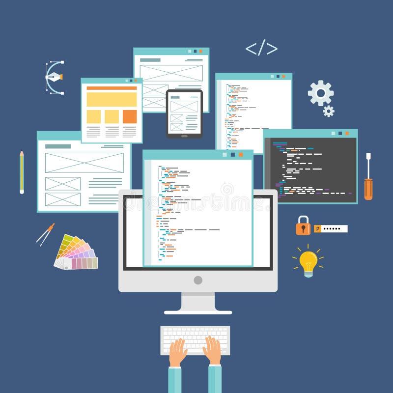 Σχέδιο Ιστού σχεδίου εφαρμογής και υπεύθυνος για την ανάπτυξη Ιστού απεικόνιση αποθεμάτων