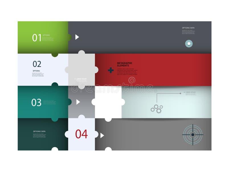 Σχέδιο Ιστού Infographics Σύγχρονο πρότυπο γρίφων διανυσματική απεικόνιση