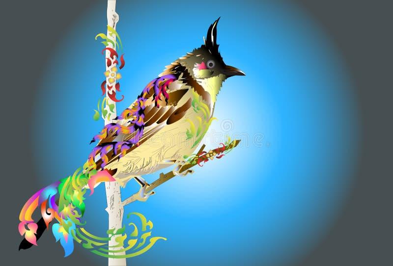 Σχέδιο και γραμμή Ταϊλανδός τέχνης πουλιών ελεύθερη απεικόνιση δικαιώματος