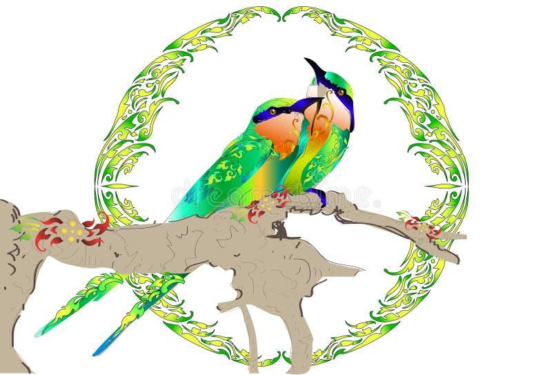 Σχέδιο και γραμμή Ταϊλανδός τέχνης πουλιών διανυσματική απεικόνιση