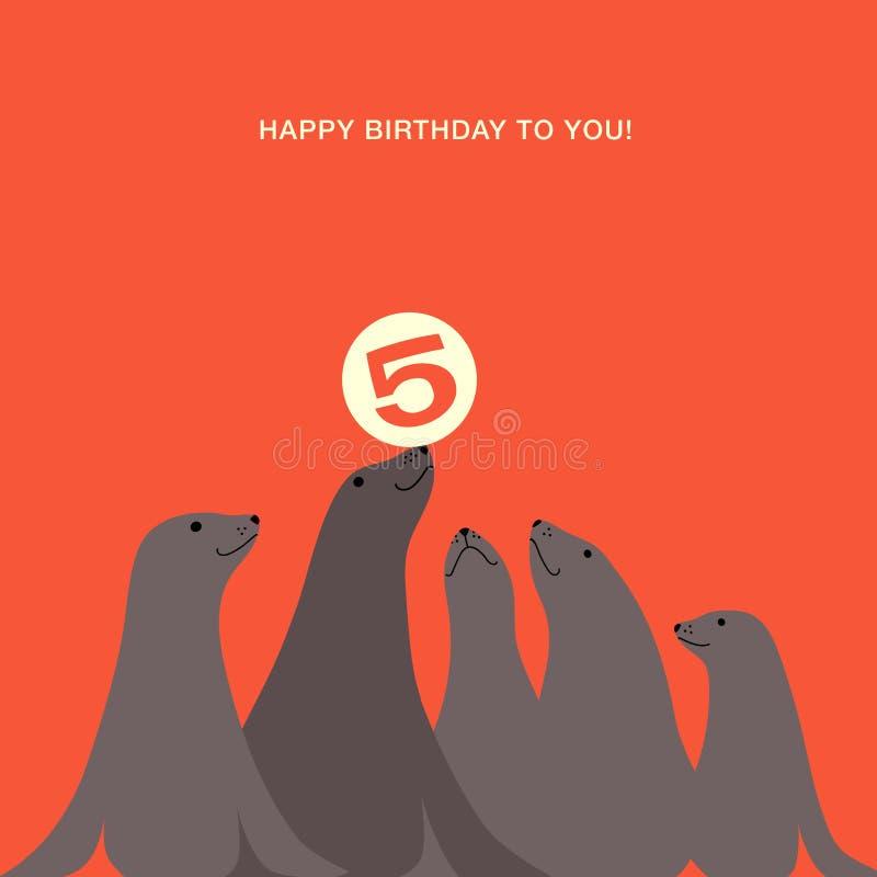 Σχέδιο καρτών γενεθλίων με τα λιοντάρια θάλασσας ελεύθερη απεικόνιση δικαιώματος