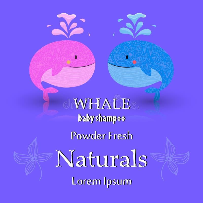 Σχέδιο καρτών ντους μωρών με τη φάλαινα ελεύθερη απεικόνιση δικαιώματος