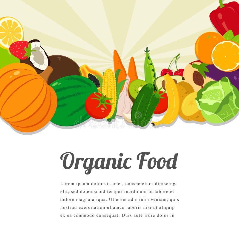 Σχέδιο καρτών οργανικής τροφής Υπόβαθρο τροφίμων με τα ζωηρόχρωμα φρούτα και λαχανικά Κολάζ των φρέσκων λαχανικών διάνυσμα ελεύθερη απεικόνιση δικαιώματος