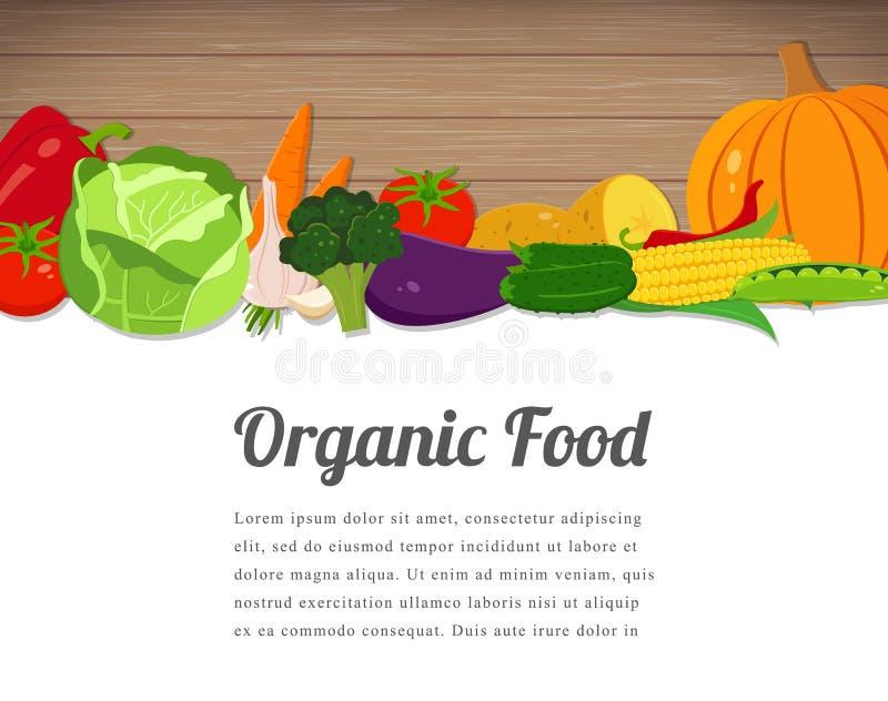 Σχέδιο καρτών οργανικής τροφής Υπόβαθρο τροφίμων με τα ζωηρόχρωμα φρούτα και λαχανικά Κολάζ των φρέσκων λαχανικών διάνυσμα απεικόνιση αποθεμάτων