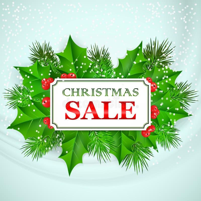 Download Σχέδιο καρτών πώλησης Χριστουγέννων με τον ελαιόπρινο και το έλατο Διανυσματική απεικόνιση - εικονογραφία από βακκινίων, εύθυμος: 62718121