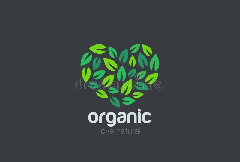 Σχέδιο καρδιών λογότυπων Eco φύλλων Οργανικό φυσικό Gard απεικόνιση αποθεμάτων