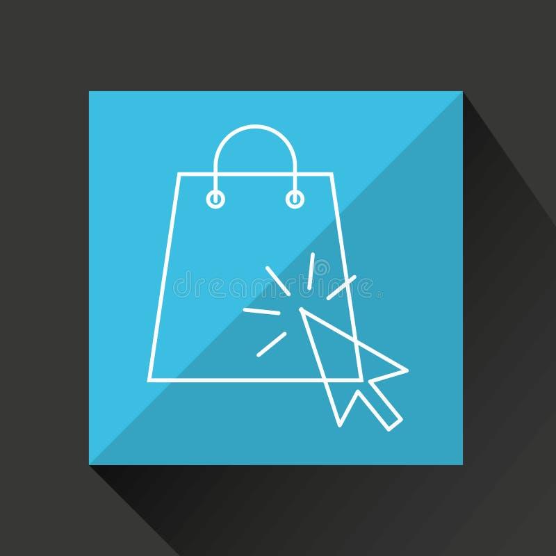 Σχέδιο καταστημάτων κάρρων και τσαντών ηλεκτρονικού εμπορίου έννοιας διανυσματική απεικόνιση