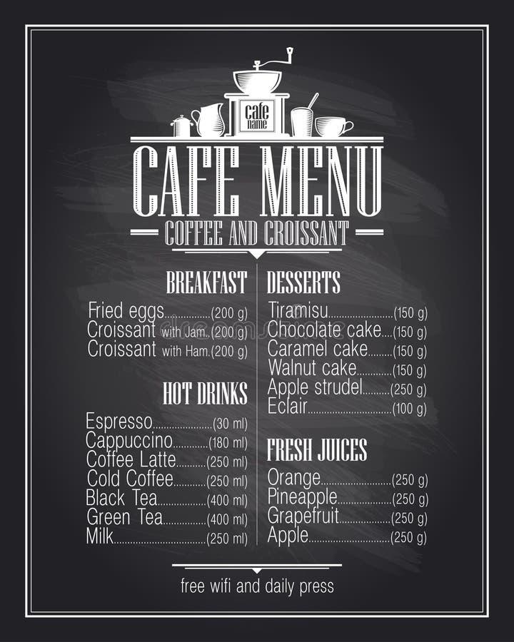 Σχέδιο καταλόγων επιλογών καφέδων πινάκων κιμωλίας με το όνομα πιάτων απεικόνιση αποθεμάτων