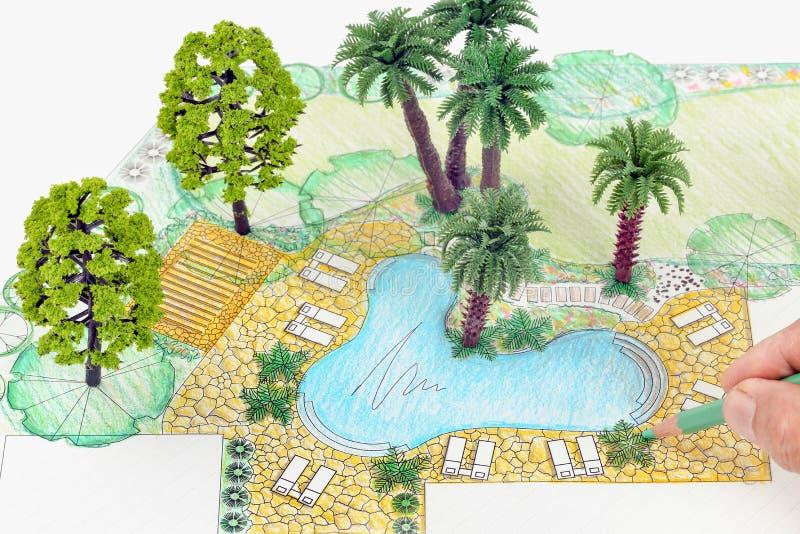 Σχέδιο κατωφλιών σχεδίου αρχιτεκτόνων τοπίου στοκ φωτογραφία με δικαίωμα ελεύθερης χρήσης