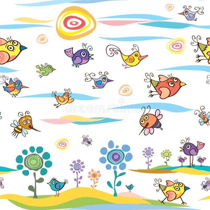 Σχέδιο καλοκαιριού και άνοιξης με τα πουλιά και τις μέλισσες στοκ φωτογραφίες με δικαίωμα ελεύθερης χρήσης
