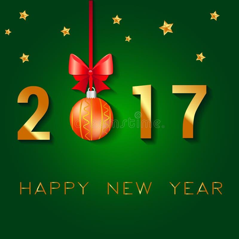 Σχέδιο κειμένων καλής χρονιάς 2017 Διανυσματική απεικόνιση χαιρετισμού με το τόξο και τα αστέρια σφαιρών Χριστουγέννων ελεύθερη απεικόνιση δικαιώματος
