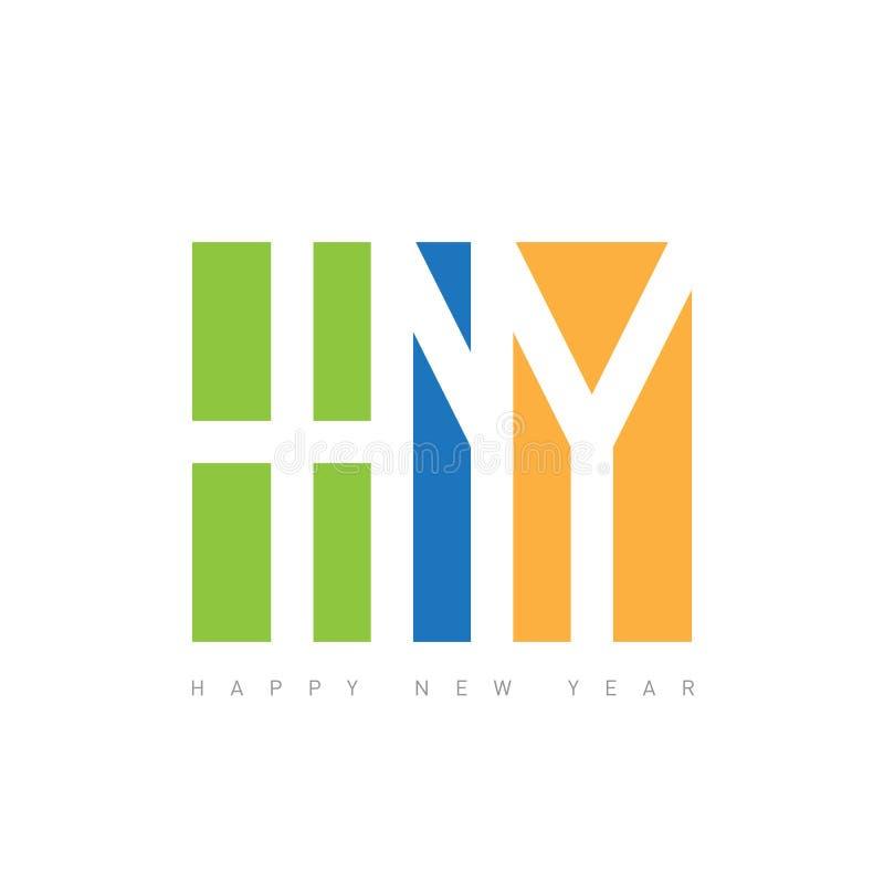 Σχέδιο κειμένων καλής χρονιάς Διανυσματική απεικόνιση χαιρετισμού με το LE απεικόνιση αποθεμάτων