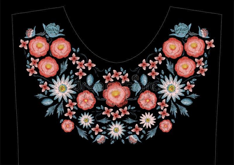 Σχέδιο κεντητικής βελονιών σατέν με τα λουλούδια Λαϊκό floral καθιερώνον τη μόδα σχέδιο γραμμών για το neckline φορεμάτων Εθνική  διανυσματική απεικόνιση