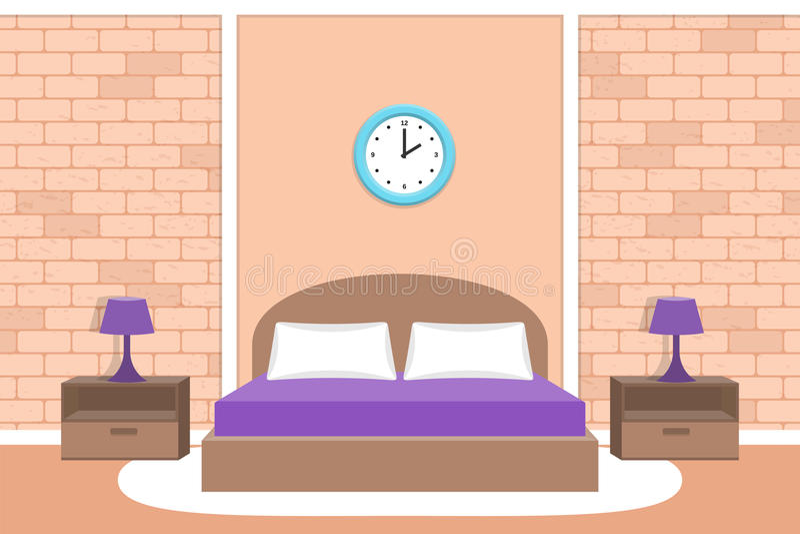 Σχέδιο κρεβατοκάμαρων Εσωτερική διανυσματική απεικόνιση δωματίων Υπόβαθρο με το τουβλότοιχο διανυσματική απεικόνιση