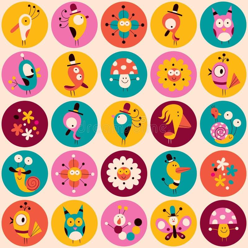 Σχέδιο κύκλων λουλουδιών, χαρακτήρων πουλιών, μανιταριών & σαλιγκαριών ελεύθερη απεικόνιση δικαιώματος