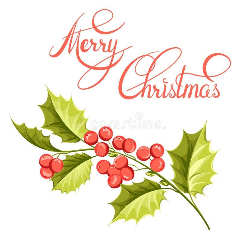 Σχέδιο κλάδων γκι Χριστουγέννων απεικόνιση αποθεμάτων
