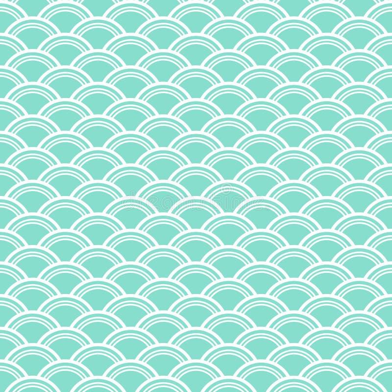 Σχέδιο κλιμάκων Aqua & άσπρων ψαριών, άνευ ραφής υπόβαθρο σύστασης στοκ εικόνες